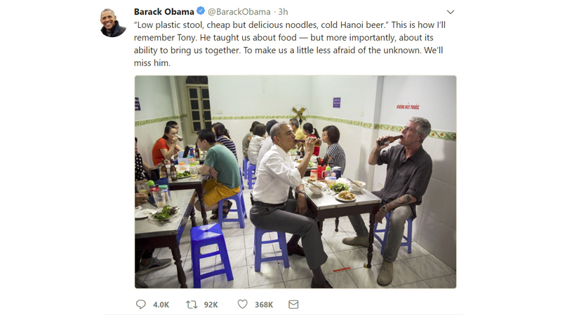Anthony Michael Bourdain with Obama