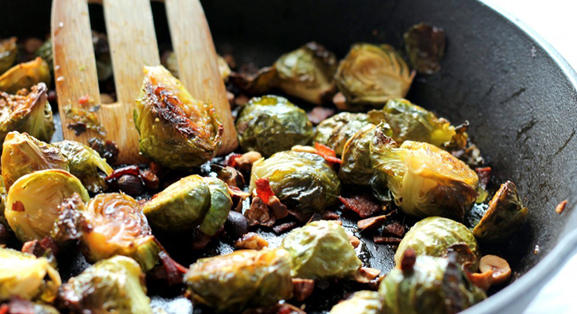 Maple Roasted Brussels Sprouts with Bacon and Toasted Hazelnuts Recipe